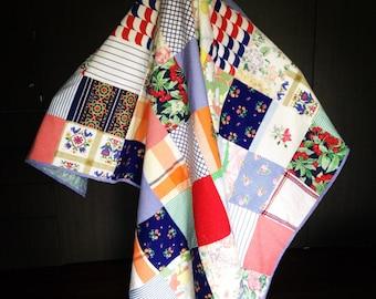 Handmade patchwork quilt/ modern quilt / vintage fabrics / queen size quilt / red and blue quilt