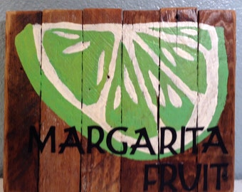 Margarita Fruit Rustic Wood Sign, Bar Art, tiki bar sign, pool bar sign, kitchen decor, cottage decor, beach decor, margarita sign