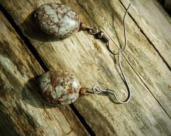 Brown-Grey Oval Earrings