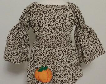 Brown Swirl Peasant Dress 1T