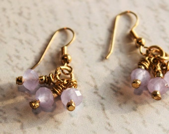 Lilac/Lavender and gold-filled chandelier earrings