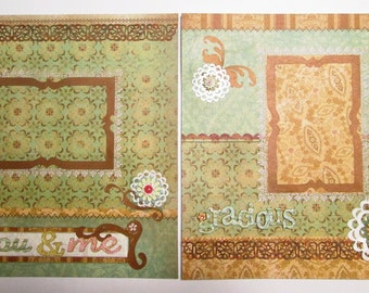 ON SALE 40% OFF - Set of 2 Premade Scrapbook Pages 12x12  - You and Me