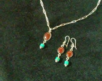 Beautiful set carnelian turquoise and sterling silver