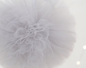 Light grey tulle pom poms / wedding party decorations pom poms / nursery decor