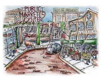 Pike Place Market, Seattle, WA - Whimsical Watercolor Art, Blank Greeting Card (A10)