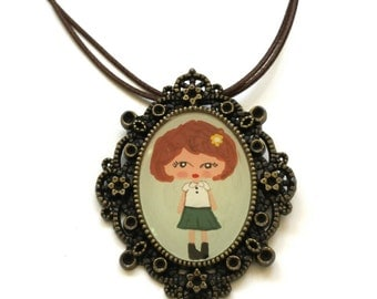 REDUCED - Hand Painted Frame Pendant Necklace