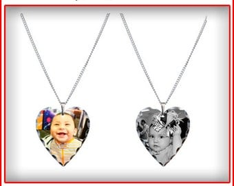 Custom Personalized Photo Picture Heart Pendant Necklace
