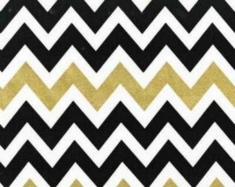SALE Remix Zig Zag Black Gold Metallic Chevron