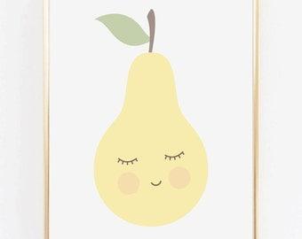 Pear, Kid's print, Nursery decor, Kids room, Printable Wall Art Print, Wall Decor, Modern Poster, Digital poster print Instant Download 8x10