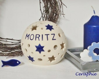Personalized lamp with name, birth, baptism lamp o. name lamp 'Moritz' 11 cm, 16 cm, 20 cm diameter