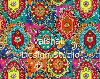BOHEMIAN PRINT, multicolor, seamless pattern, 2 sheets, digital prints