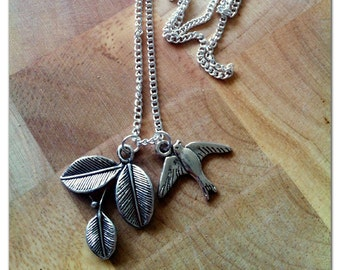 Handmade Swallow and Leaf Design Necklace