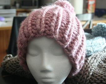 Super Chunky Knit Beanie/Hat in Orchid Pink