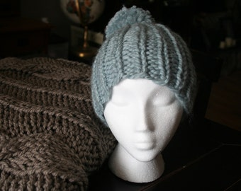 Super Chunky Knit Beanie/Hat in Light Blue/Teal