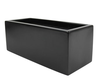 Belmont Rectangle Modern Planter Box - Black. Made from hand laid fiberglass. For Indoor and outdoor garden use. Various sizes available.
