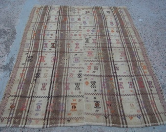 FREE SHIPPING ! 206 x 159 cm / 6.8 x 5.2 ft Organic Wool Ethnic Handmade Kilim Rug,Decorative Home Decor Rug,Large Rug,Beige and Brown Rugs,