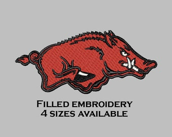 Embroidery file razorback filled Arkansas embroidery design download
