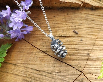 Silver Pine Cone Necklace: Woodland Necklace, Pinecone Pendant, Silver Pinecone Charm, Silver Necklace, nature jewellery