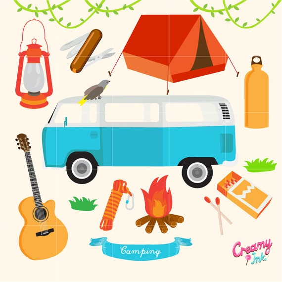 Camping Digital Vector Clip Art Outdoor Activity Clipart Illustration Gear Adventure Road Trip Instant Download From CreamyInk On
