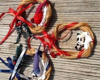Baling twine Christmas ornaments