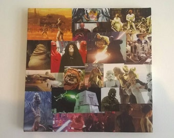 Canvas with a Star Wars decoupage finish.