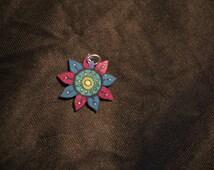 Multicolored zentangle design flower Pendant