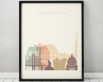 Copenhagen print, Poster, Wall art, Copenhagen Denmark skyline, City poster, Typography art, Home Decor, Digital Print, ArtPrintsVicky.