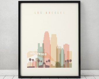 Los Angeles print, Poster, Wall art, Los Angeles California skyline, City poster Typography art, Home Decor, Digital Print, ArtPrintsVicky.
