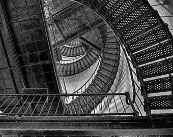 LIght House, Interior, Stairs, Hunting Island, South Carolina, Fine Art Print, South Carolina Art, Photography, Black and White, Art