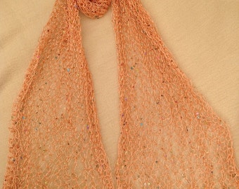 Handmade by Mrs Smith Peach Sequinned Wrap