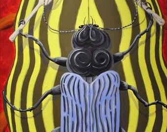 Dinner Train -- Beetle Insect Art - Humor - JKay