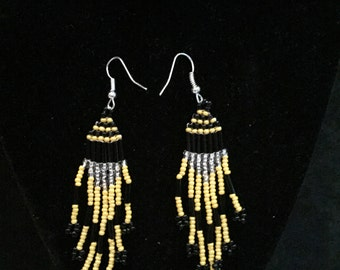 Native Beaded Earrings Black And Yellow