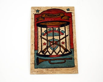 Wooden Folk Art Americana Drum Painting