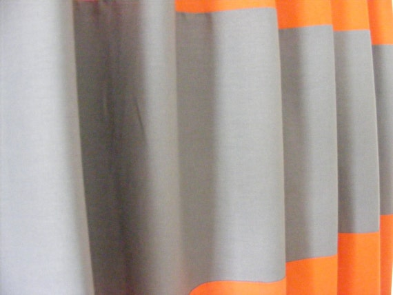 Horizontal Striped Curtain Panels Orange and Grey Linen Pair Lined