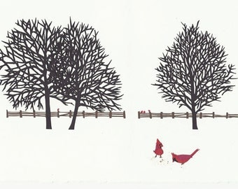 Snowy Landscape - Original Cut Paper Art