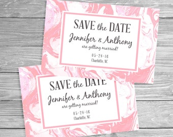 Marbled Save the Date - Pink, Printable Digital File or Request Prints