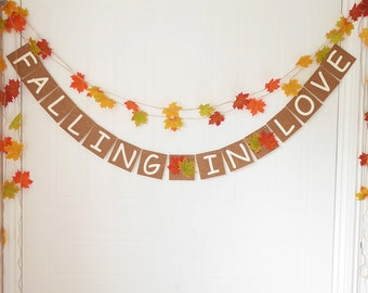 Falling in love bunting, fall and autumn wedding, bridal shower, engagement décor