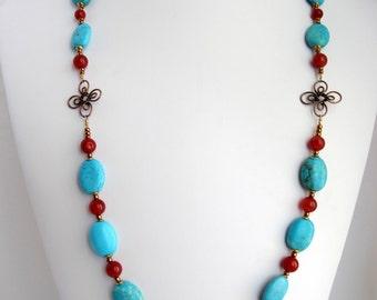 Turquoise & Carnelian Gemstones Set