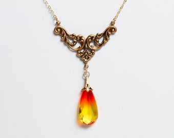 """Vintage Swarovski Fire Opal Necklace, 16"""", With Gold-Filled Chain"""