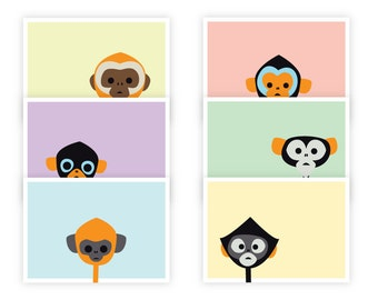 12 Pack: Fun Monkey Cards, All Occasion, With Kraft Envelopes (6 Unique Designs)