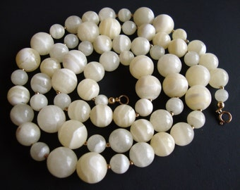 14K GF Authentic Banded White Agate Beads Vintage Heavy Necklace, 103.2g.