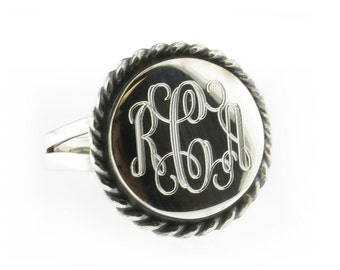 925 Sterling Silver Monogram Engravable Round with Rope Edge Signet Ring