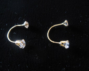 Child Screw Back Earring w Stones in 14K Gold Telephone Style!!