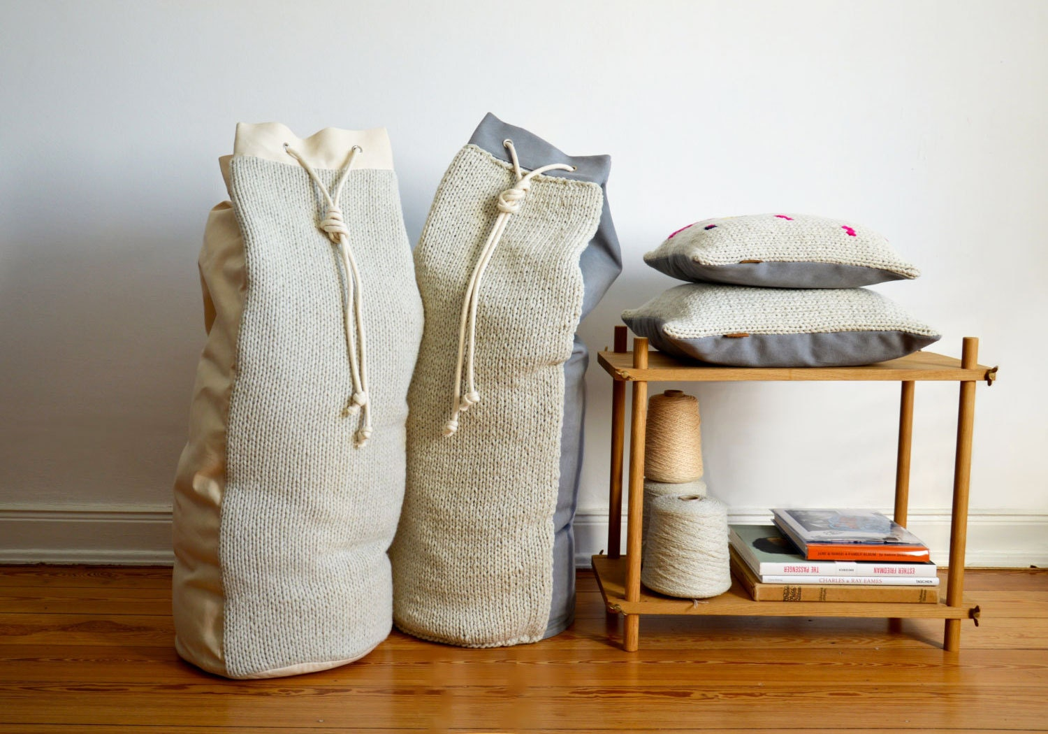 hjartslag pillows and storage bags