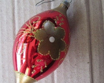 Vintage Christmas Ornament Red Drop Hand Blown Glass Made In Germany  #139