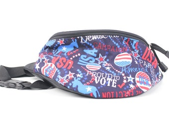 Fanny pack Democrat Blue Voting fabric  - Hip Waist Bag for travel, sport, and recreation with 2-zippers