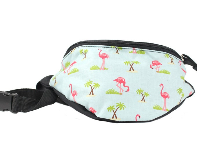 Fanny pack Blue Flamingo fabric - Fannypack