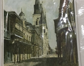 1968 Don Davey French Quarters New Orleans and Church Color Print Matted