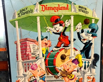 1955 Disneyland Big Bad Wolf and Three Little Pigs Whitman Frame Tray Puzzle