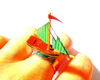 ON BOARD -- Miniature ship ring, green and silver colored ring by The Sausage